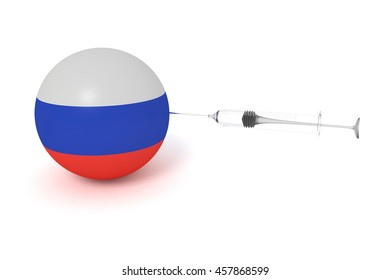 Doping: Russian flag sphere with a syringe, 3d illustration