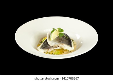 Dorado fillet on a vegetable julienne in a spinach-creamy sauce on png or transparent background