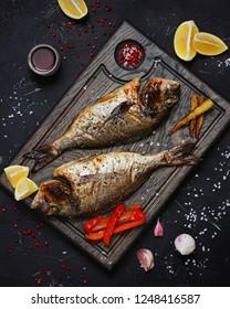 Dorado fish with vegetables