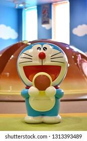 Doraemon model of DORAEMON WAKU WAKU SKY PARK in the new chitose airport ,Hokkaido, Japan.Feb 15,2019.