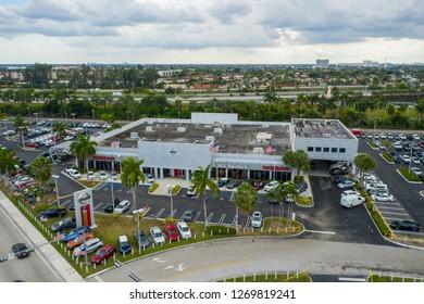 DORAL MIAMI, FL, USA - DECEMBER 10, 2018: Aerial image of Bill Seidles Nissan Miami Doral