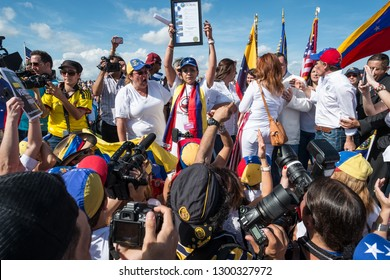 Doral, Miami / United States - February 22 2014: Officials from the City of Doral declare their support for the student protest movement in Venezuela against the government of Maduro.