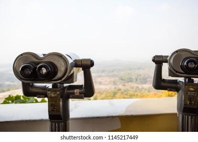 Dorasan, South Korea - October 24, 2014: Dorasan lookout view into North Korea on the border between North and South Korea in the DMZ