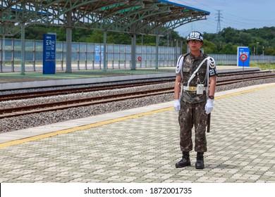 Dorasan Station, Paju, South Korea - 07 09 15: ROK Soldier guarding the platform of Dorasan Train Station near the Korean DMZ on the only railway to connect North Korea and South Korea