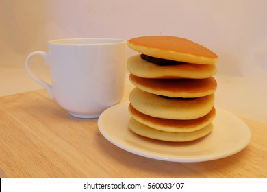 Dorayaki, popular Japanese pancake with sweet red bean, hearty shape for Valentines or special romantic moment served with coffee or tea in morning or coffee time, sold in market and department store