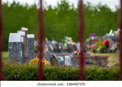 Dordogne, France 04/29/2019 A cemetery where the graves are clean and well flowered