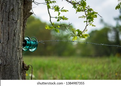 Dordogne, France 04/29/2019 A fence made of recycled electrical materials