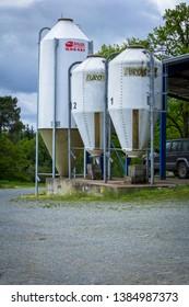 Dordogne, France 04/29/2019 Three grain silos on a farm, for the feeding of live cow