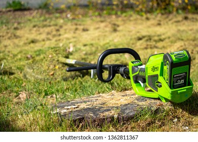 Dordogne, France April 8 2019, Greenworks Tools is the leader in battery-powered outdoor power tools for DIY-consumers and landscaping professionals.