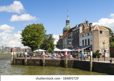 Dordrecht, The Netherlands - August 11, 2013: Festival visitors on the Groot Hoofd on a sunny summers day. Place DAry is an annual art event held on the riverside in Dordercht.