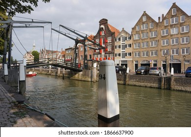 Dordrecht, The Netherlands - August 28, 2018; The Damiatebrug is a national monument in the city of Dordrecht. The bridge was built over the Wolwevershaven.