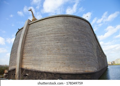 DORDRECHT, THE NETHERLANDS - FEBRUARY 15: Replica of Ark of Noah on February 15, 2014 in The Netherlands. Noah's Ark is an element of Noah story which is well known worldwide in multiple religions.