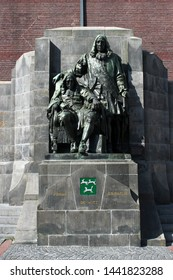 DORDRECHT, THE NETHERLANDS - JULY 3 2019: Statue of Johan and Cornelius de Witt, both lynched by a mob. Dordrecht, South Holland, The Netherlands.