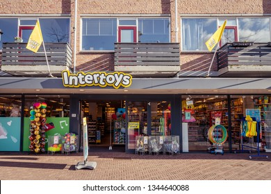 Dordrecht, The Netherlands - March 03, 2019: Intertoys storefront and products displayed. Intertoys is a retail chain selling toys recently taken over by the Portuguese investment group Green Swan