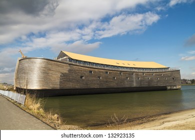 DORDRECHT, THE NETHERLANDS - MARCH 18: Full-sized replica of Noah's Ark docked ready for visitors on March 18, 2013 in Dordrecht. Built by John Huibers, a famous Dutch building contractor.