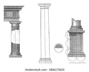 Doric column, Hendrick Hondius (I), after Hans Vredeman de Vries, after Paul Vredeman de Vries, 1620 Construction and details of the Doric column, vintage engraving.