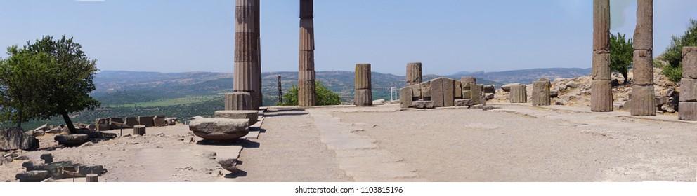 Doric columns of the ancient Greek Temple of Athena at Behramkale Assos, Turkey