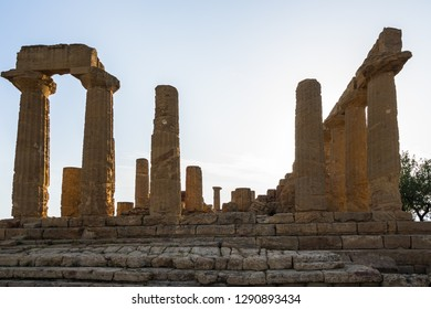 Doric columns of the Temple of Juno at Valle dei Templi (Valley of the Temples), one of the most important archeological site for greek art and architecture, Agrigento, Sicily, Italy