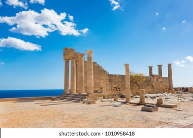 Doric temple of Athena Lindia on Acropolis of Lindos (Rhodes, Greece)