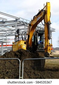 Dorking, Surrey, United Kingdom, 20 February 2017:  Constructing a £5 Million Pound Community Based Sports Facility at Meadowbank Football Ground.