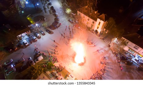 DORKOVO, BULGARIA - APRIL 01, 2019: Fire ritual during a celebration of Sirni Zagovezni. It is believed that evil spirits are chased away with this fire rituals.