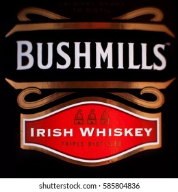 DORKOVO, BULGARIA - FEBRUARY 23, 2017: Bushmills irish whiskey close-up background. The Old Bushmills Distillery is a distillery in Bushmills, County Antrim, Northern Ireland. It was founded in 1784.