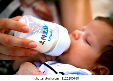 DORKOVO, BULGARIA - JULY 02, 2018: Philips Avent baby feeding bottle, illustrative editorial