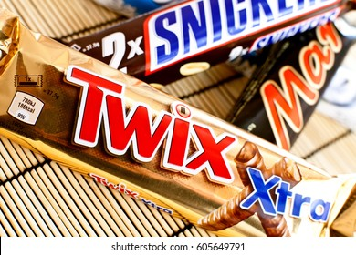 DORKOVO, BULGARIA - MARCH 20, 2017: Twix,Mars,Snickers and Bountey chocolate bars produced by Mars Incorporated. Twix name has been used since 1991