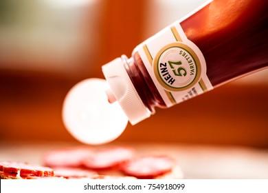DORKOVO, BULGARIA - NOVEMBE:R 13, 2017: Heinz Ketchup Bottle macro view