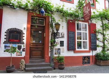 Dormagen, Germany May 26th 2019: Beautiful Restaurant facade on a summer morning