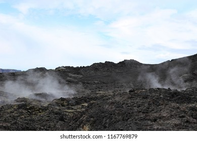 Dormant volcano steaming