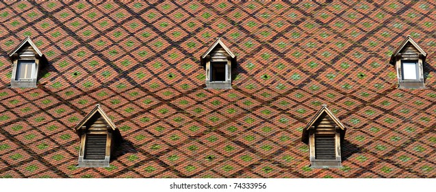 Dormer windows on the roofs of Besancon city, France