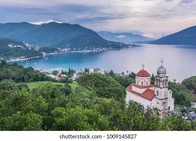 Dormition Church of Savina Orthodox monastery in Herceg Novi coastal town at the entrance to Kotor Bay in Montenegro