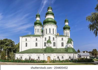 Dormition (Uspensky) Cathedral of Eletsky Women's monastery in Chernihiv. Chernihiv on Desna River - capital of Chernihiv region in Northern Ukraine. Chernihiv is one of oldest cities of Kievan Rus.