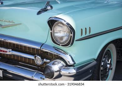 Dornbirn, Austria, 12 June 2011: Front detail of a Chevrolet vintage car