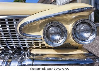 Dornbirn, Austria, 12 June 2012: Front detail of a Plymouth vintage car