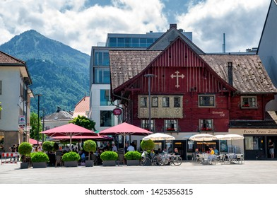 "DORNBIRN/ AUSTRIA JUNE 13, 2019: The famous ""Rotes Haus"" (red house), Landmark of the City of Dornbirn in Vorarlberg"