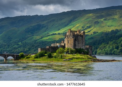 Dornie, Scotland - July 20, 2019: Eilean Donan Castle is arguably the most famous in Scotland and is recognised around the world. The first castle on the site was established in the 13th century.