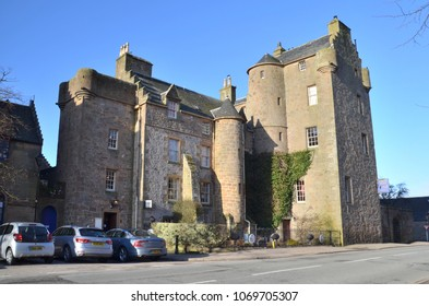 Dornoch Castle Hotel, a 15th century medieval hotel in Castle Street, Dornoch Sutherland.  Scottish Highlands. UK. April 2018