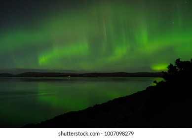 DORNOCH FIRTH, SCOTLAND, UK - November 8, 2017: An amazing display of the Aurora Borealis over the waters of the Dornoch Firth, Sutherland, Scotland, UK on November 7, 2017