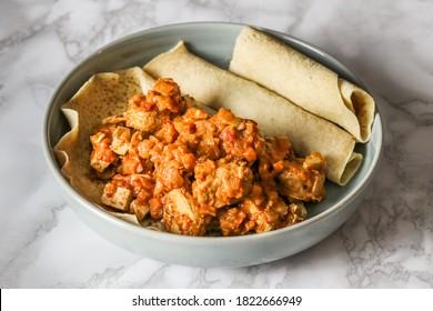 Doro wat Ethiopian stew with injera bread