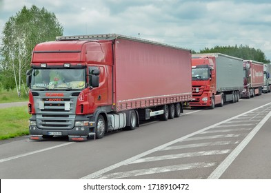 DOROHUSK,POLAND - May 24,2019: Lorry trucks cars in traffic jam at at the Polish-Ukrainian border crossing
