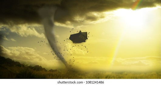 dorothys house being wrecked by tornado with rainbow