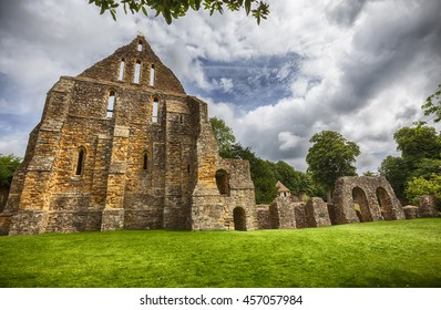 Dorter is detail of complex in Battle Abbey in town of Battle in East Sussex, England