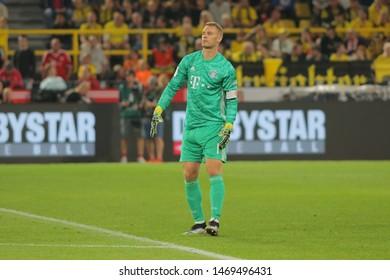 Dortmund, Germany. 3rd August 2019. Manuel Neuer (Bayern Munchen) looks on during the match between Bayern Munchen v Borussia Dortmund for the German Supercup final. Dortmund, Germany,