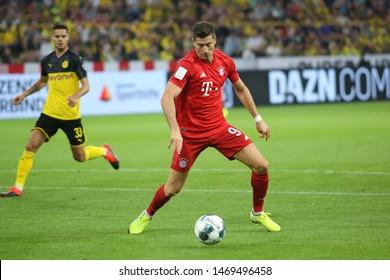 Dortmund, Germany. 3rd August 2019. Robert Lewandowski (Bayern Munchen) controls the ball during the match between Bayern Munchen v Borussia Dortmund for the German Supercup final. Dortmund, Germany,