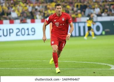 Dortmund, Germany. 3rd August 2019. Robert Lewandowski (Bayern Munchen) looks on  during the match between Bayern Munchen v Borussia Dortmund for the German Supercup final. Dortmund, Germany,