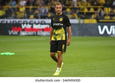 Dortmund, Germany. 3rd August 2019. Mario Gotze (Borussia Dortmund) looks on during the match between Bayern Munchen v Borussia Dortmund for the German Supercup final. Dortmund, Germany,