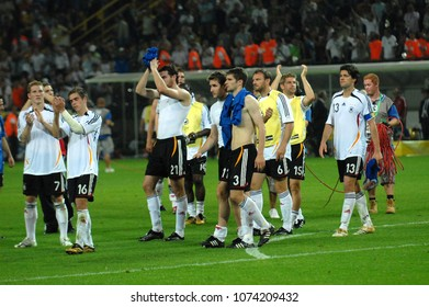 Dortmund Germany, 4 July 2006, FIFA World Cup Germany 2006, Germany-Italy semi-final at the Westfalenstadion:The disappointed German players greet the fans at the end of the game