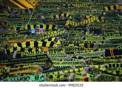 DORTMUND, GERMANY - APRIL 11: BVB Dortmund Fans before a Bundesliga match between BVB Borussia Dortmund & FC Bayern Munich, final score 1-0, on April 11, 2012, in Dortmund, Germany.
